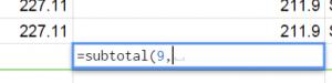 GoogleDocsにSubTotal関数を設定